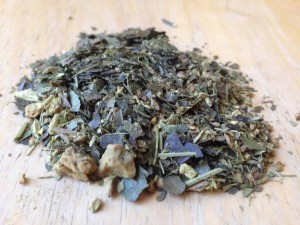 Yerba mate blended with other herbs and dried fruits.