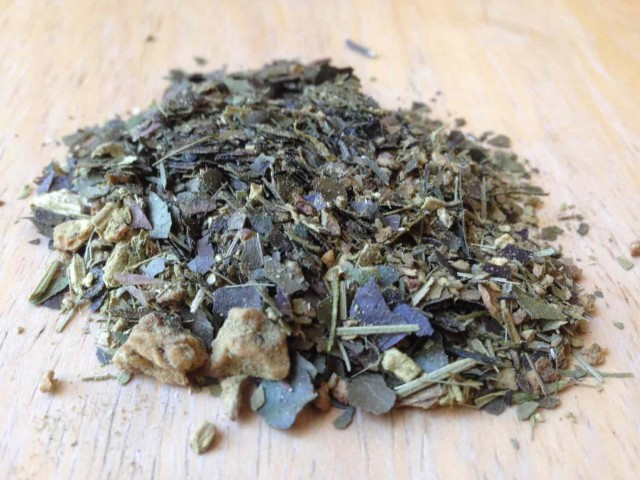 Organic Yerba mate blended with other herbs and dried fruits.