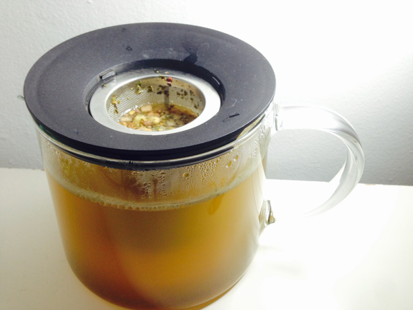 Yerba mate preparation in a tea mug
